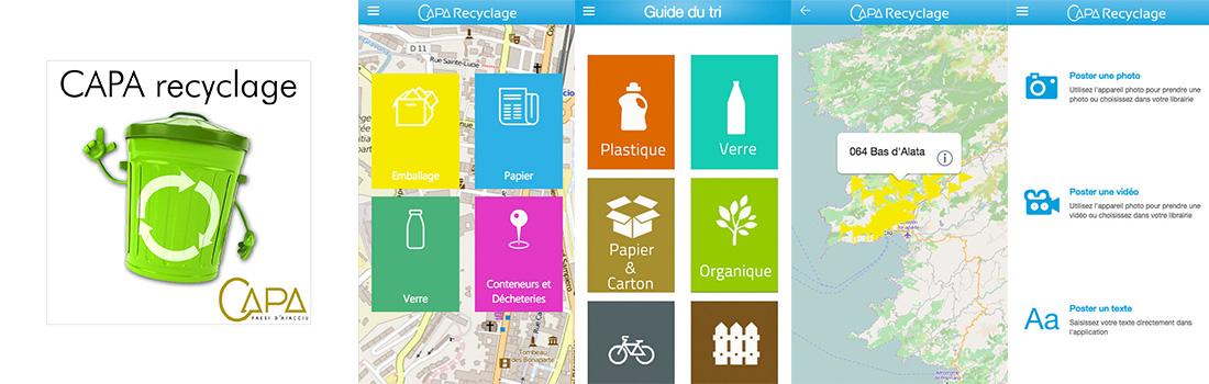 Captures d'écrans de l'application CAPA recyclage