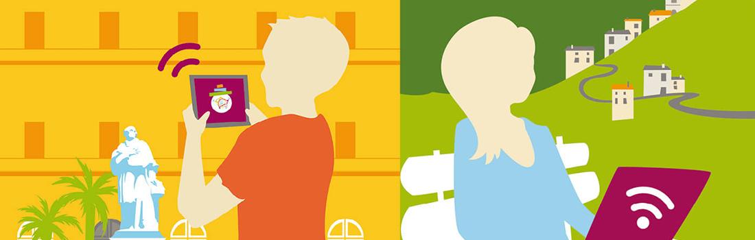 Affiches illustrées wifi public du Pays Ajaccien