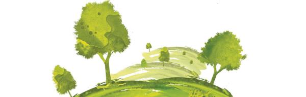 Aquarelle d'un paysage vert