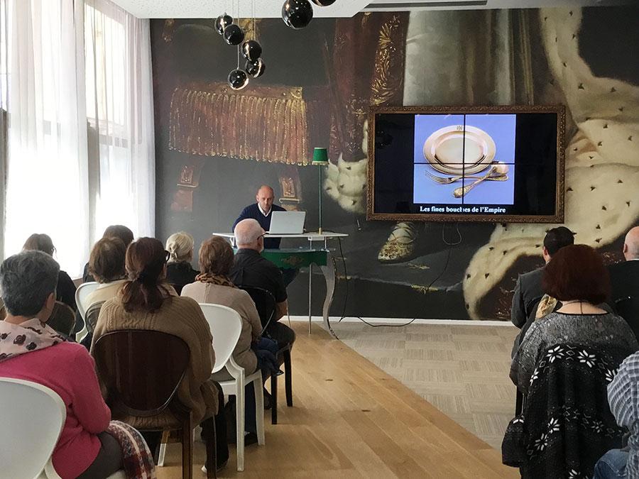 la conférence sur l'art gastronomique napoléonien présentée par Philippe Perfettini
