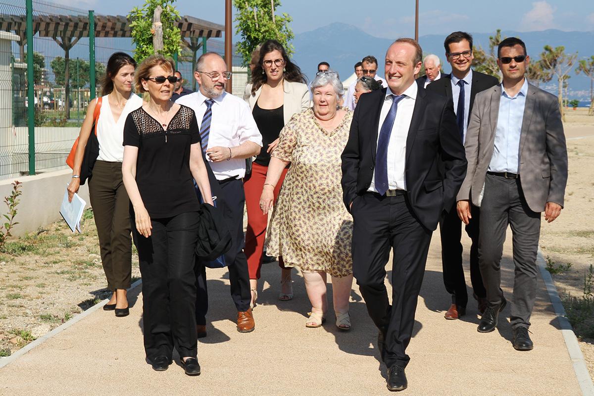 Laurent Marcangeli et Madame la Ministre, Jacqueline Gourault visitent la station d'épuration des Sanguinaires