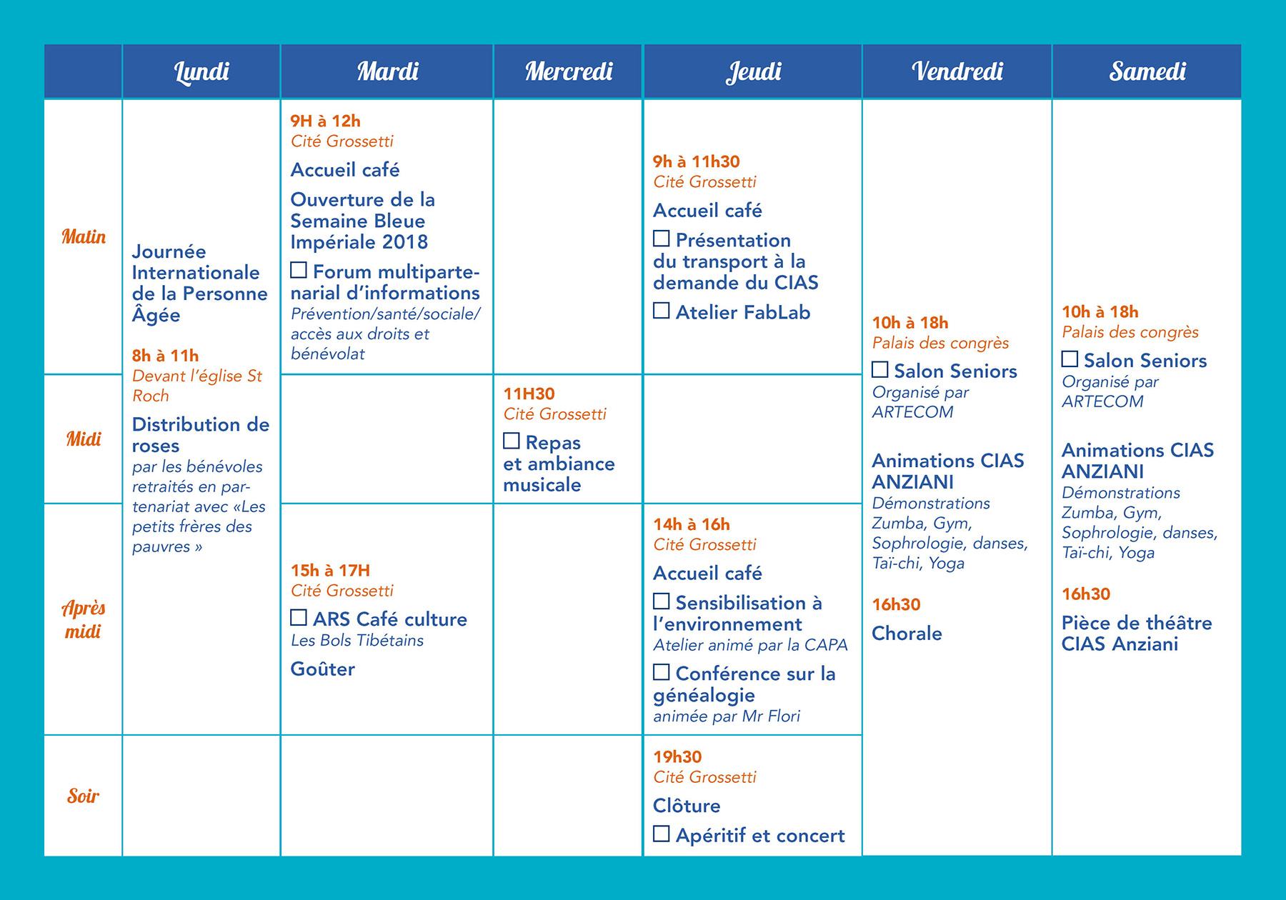 Programme semaine bleue impériale 2018