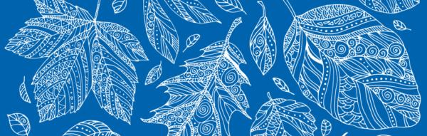 Feuilles d'automne sur fond bleu