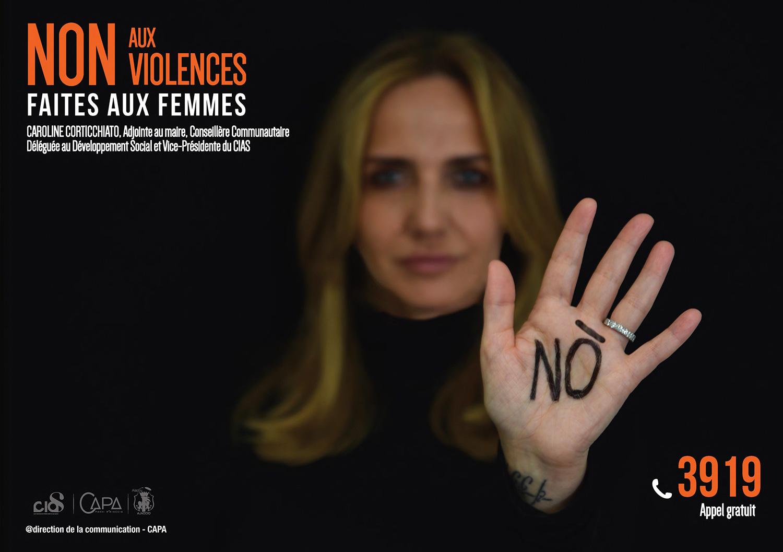 Affiche contre la violence faite aux femmes avec Laurent Marcangeli