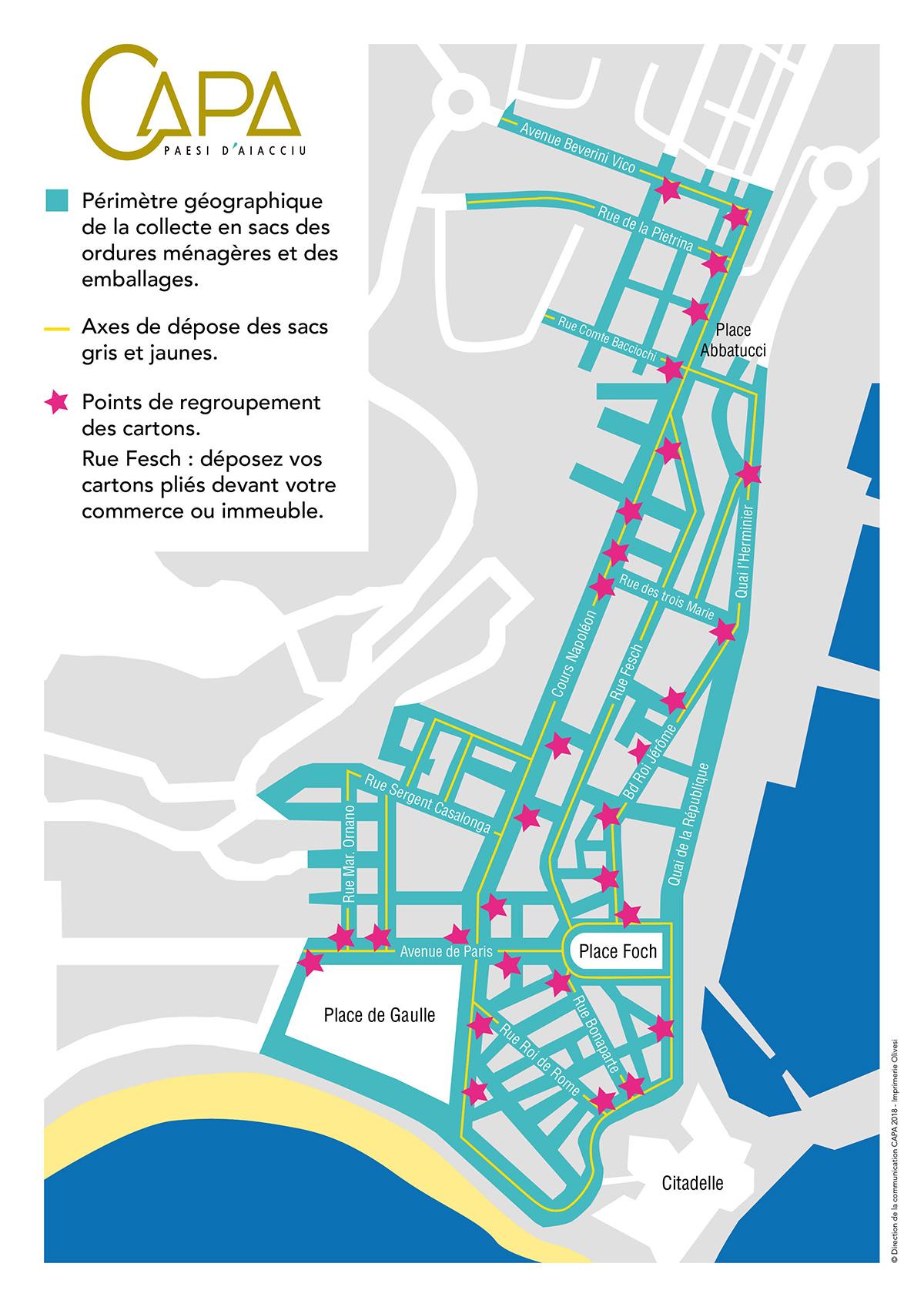 Ajaccio centre : carte des collectes en sacs