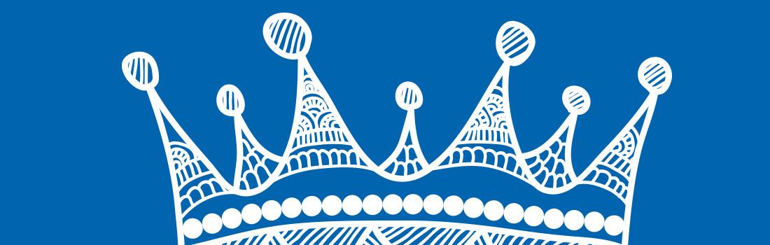 Couronne de la galette des rois sur fond bleu