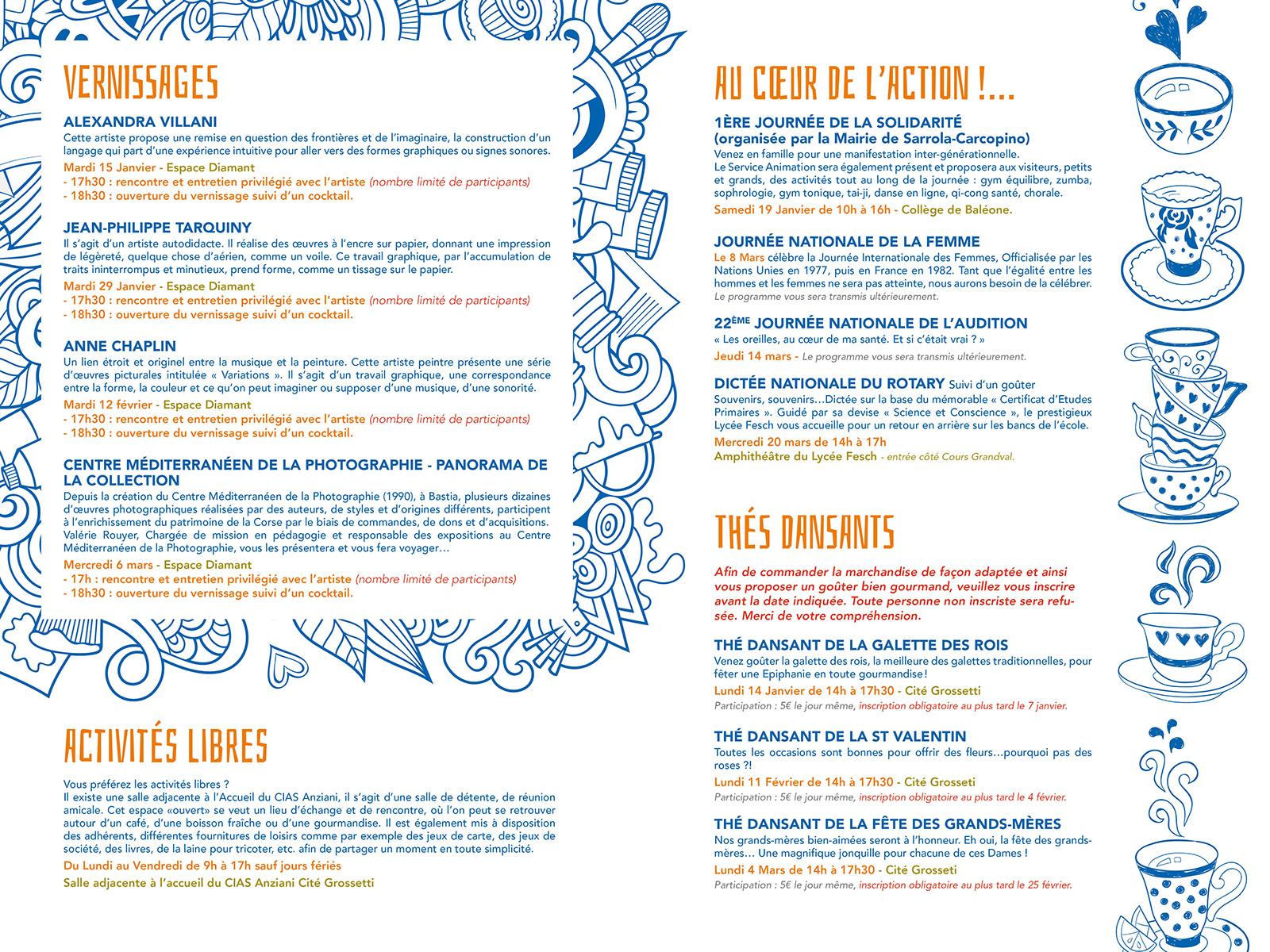 Pages centrales du programme trimestriel du CIAS anziani hiver 2019