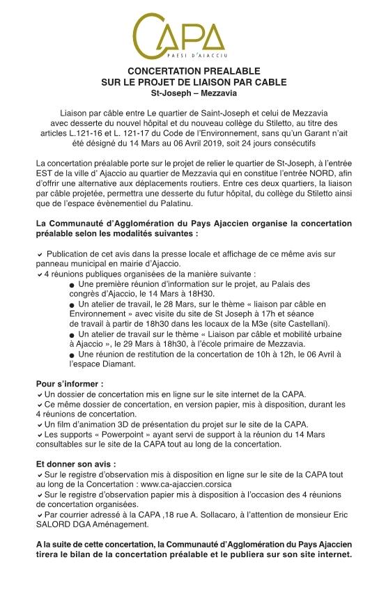 Annonce légale de concertation de la liaison par câble