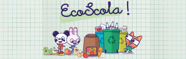animaux dessinés, triant les déchets