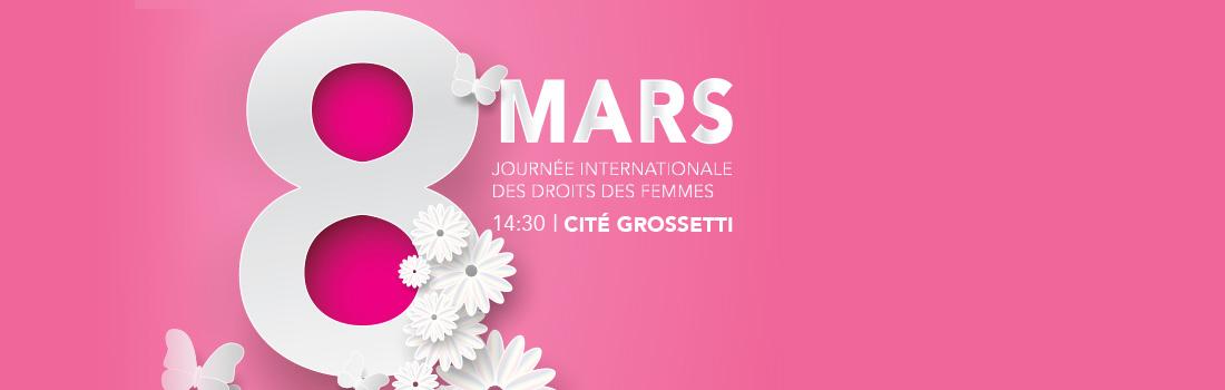 Logo 8 mars sur fond rose