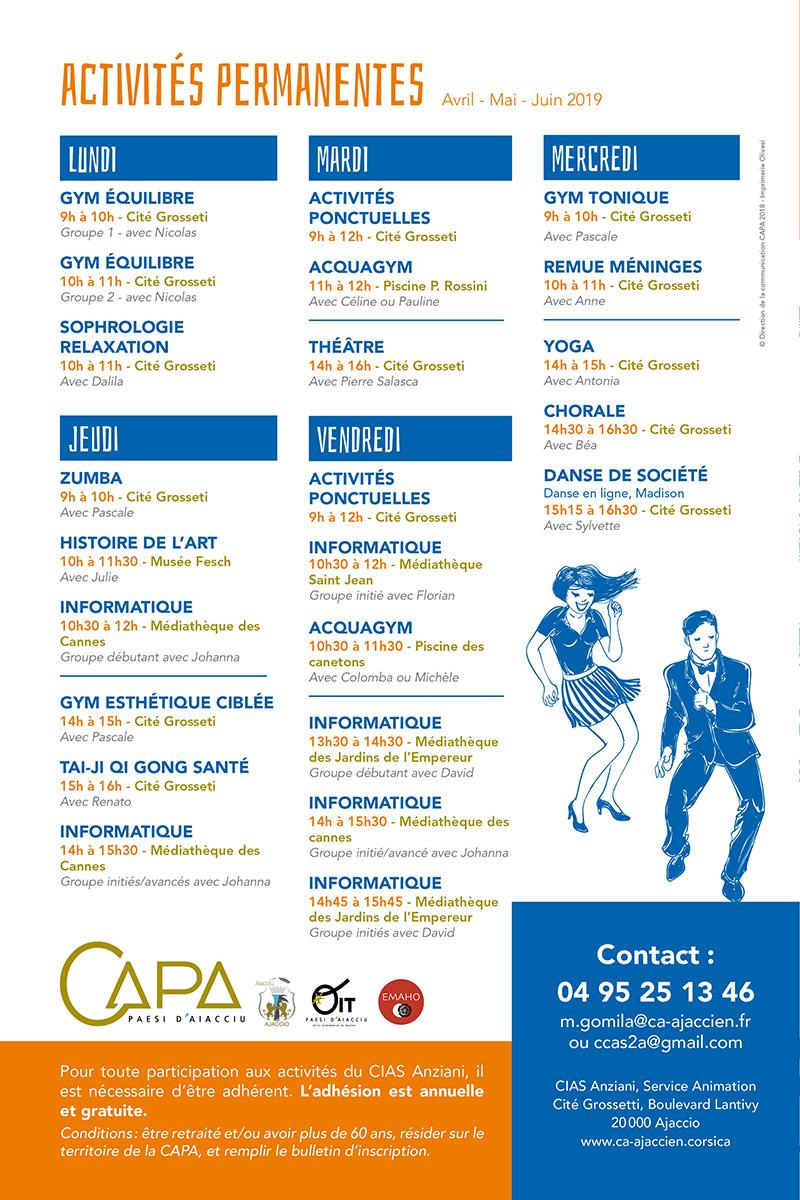Page intérieure du programme trimestriel du CIAS Anziani