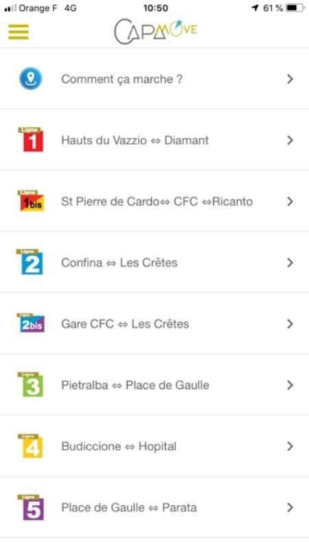 Le menu l'appli CAPA Move