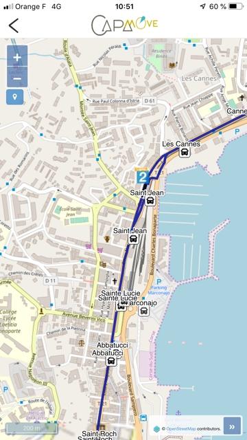 Itinéraire de bus sur l'appli CAPA Move