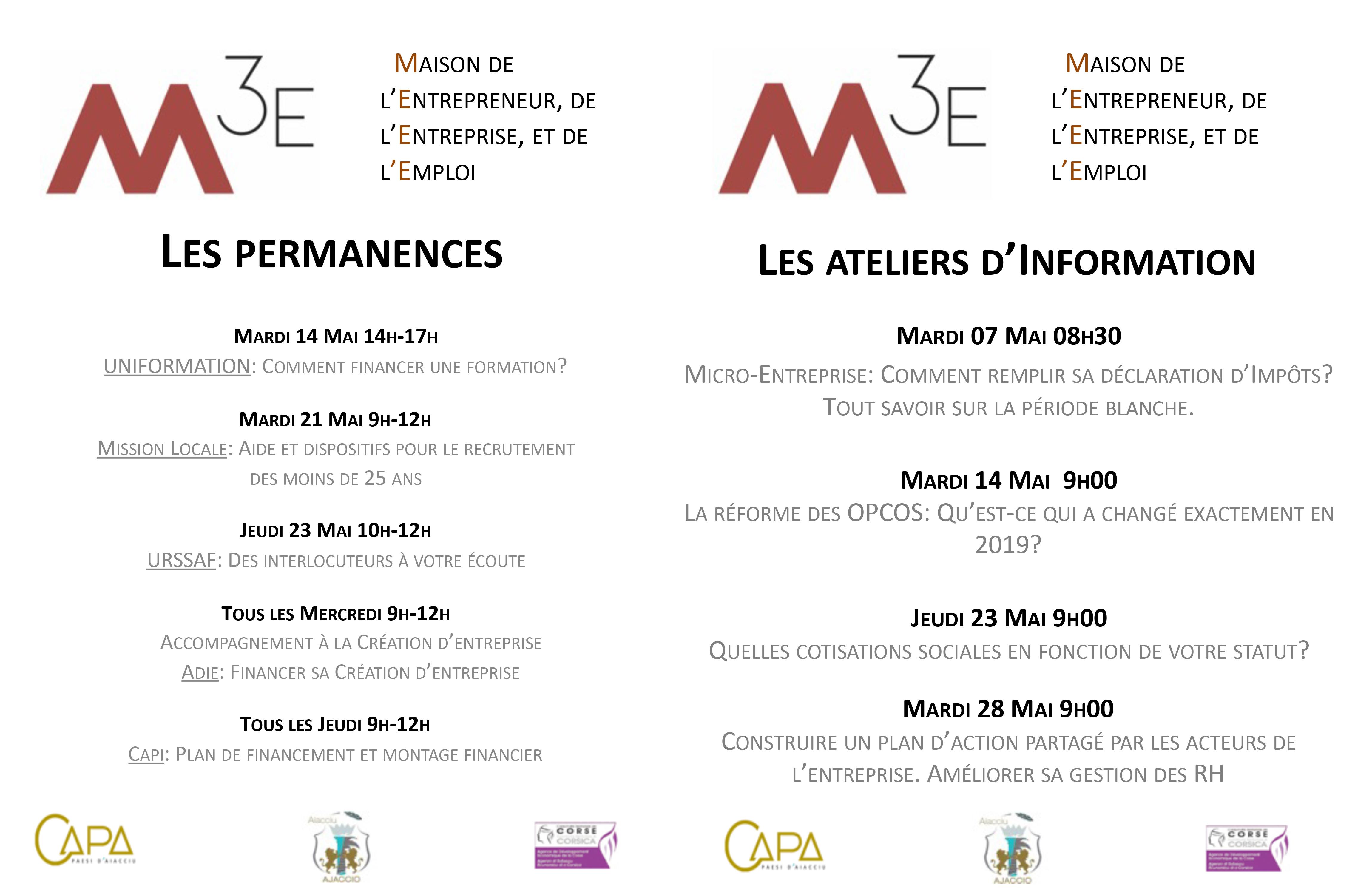 Programme de mai de la M3E