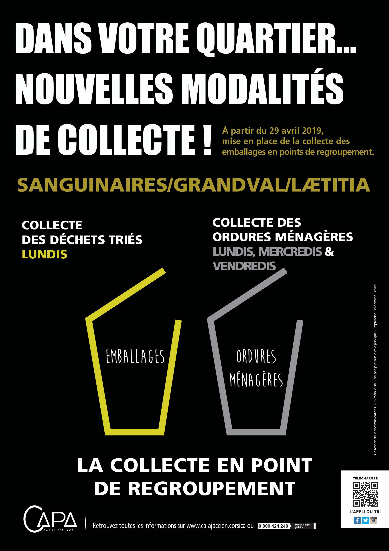 Mémo collectes Ajaccio Sanguinaires, Grandval et Laetitia pour les points de regroupement