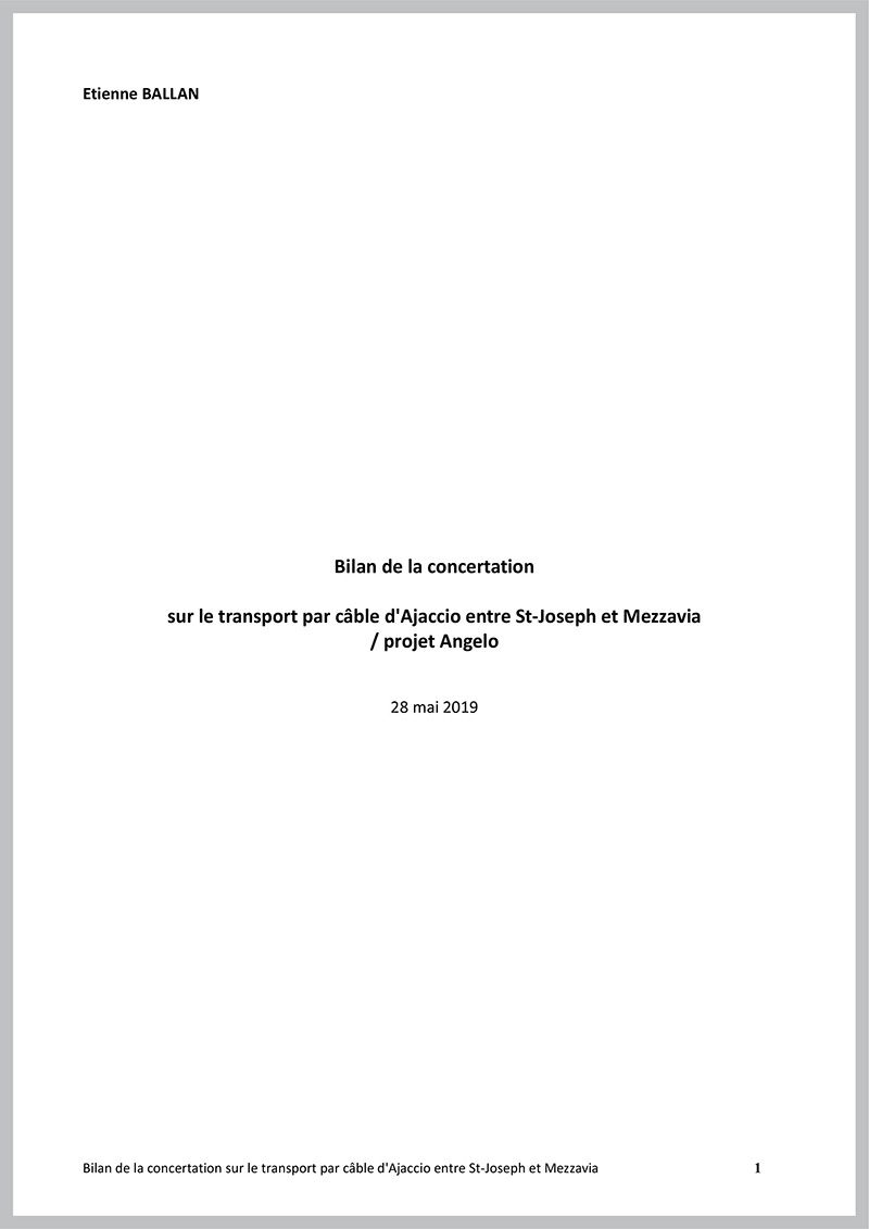 Première page du bilan de la concertation du projet