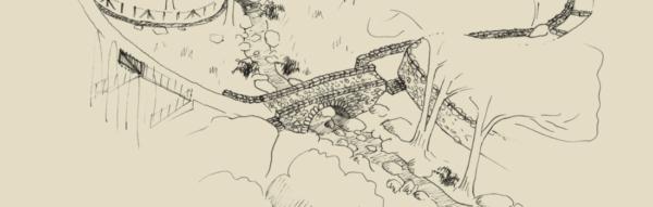 Dessin de pont genois, , illustration Hamac Paysage