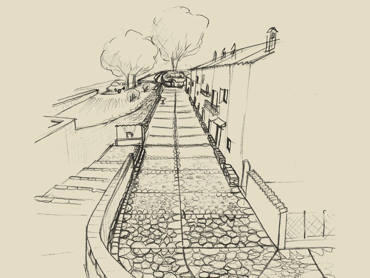 Illustration du sentier du patrimoine de Peri : piazza longa
