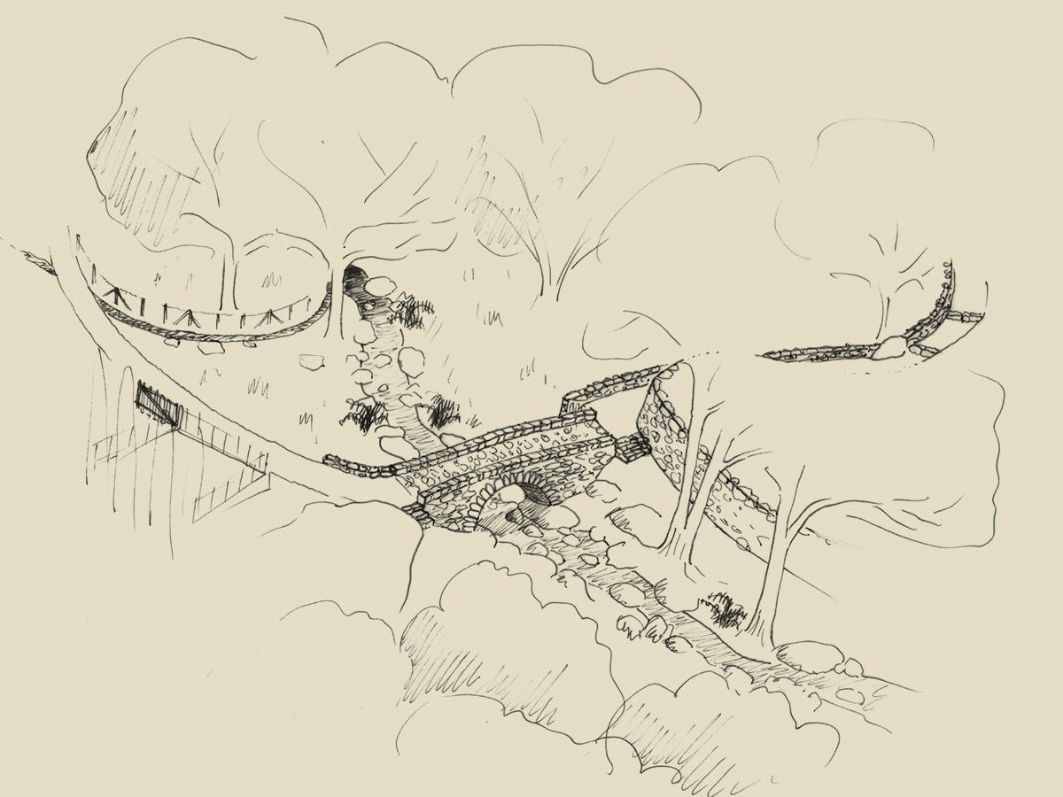 Illustration du sentier du patrimoine de Peri : pont génois