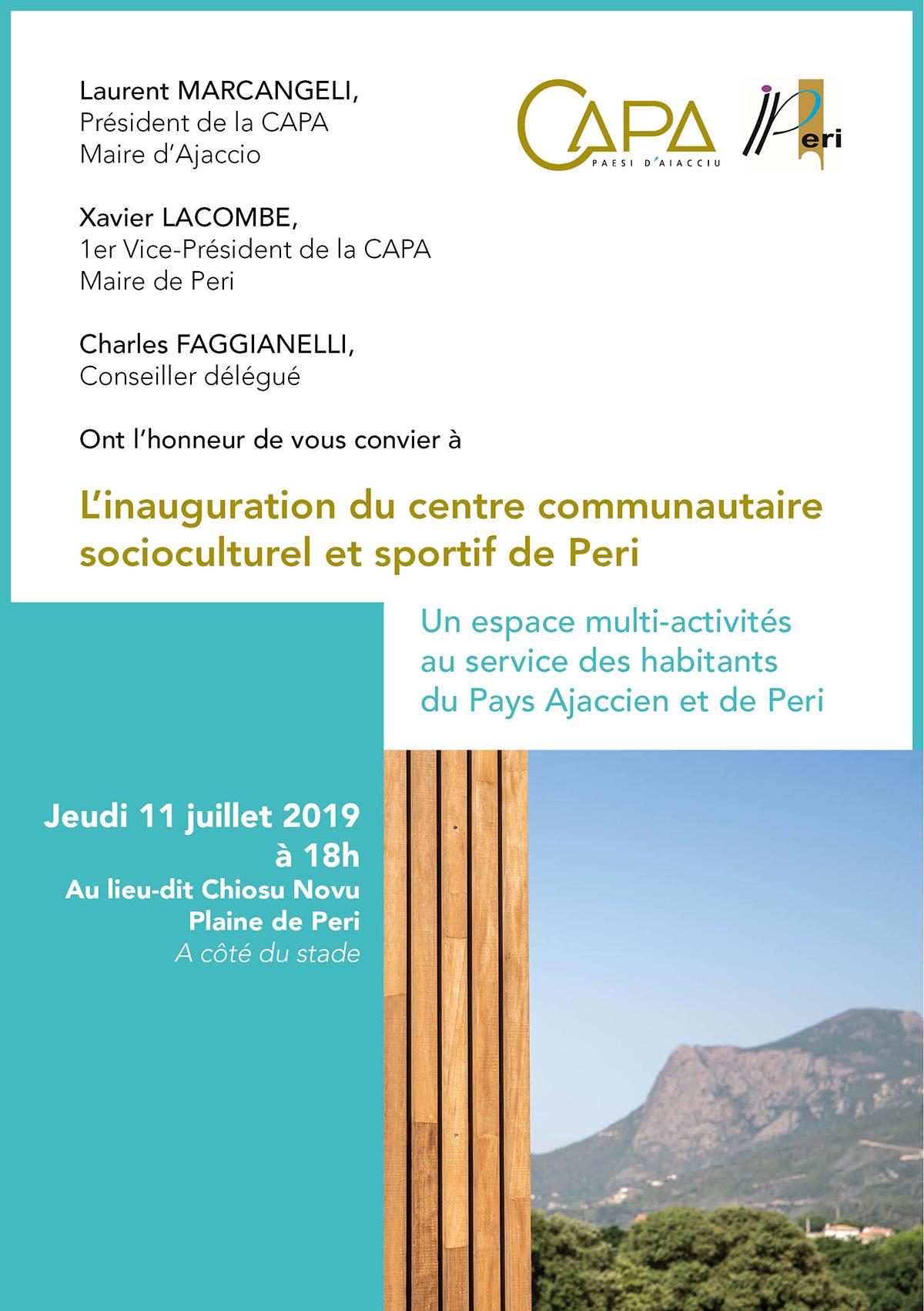 Invitation à l'inauguration du centre communautaire socioculturel et sportif de Peri