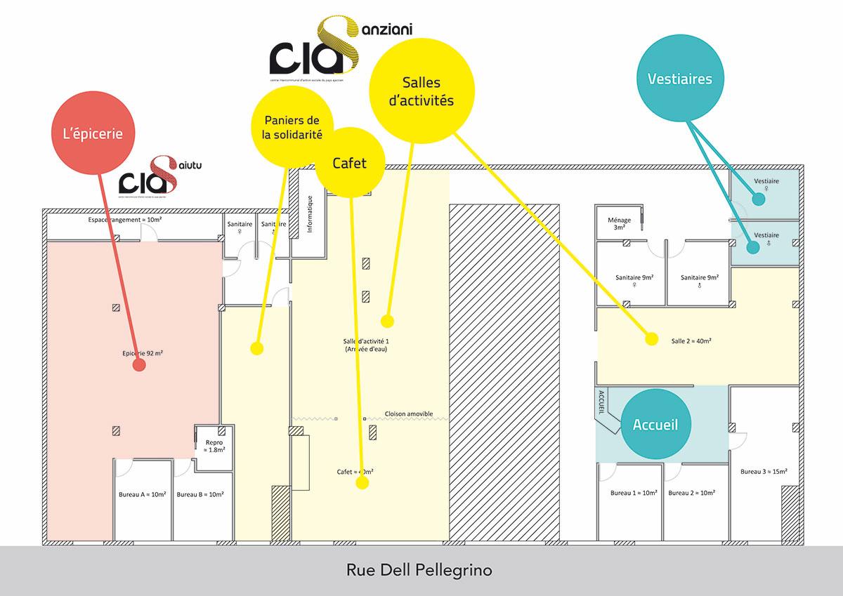 Plan des locaux du CIAS à Alban, rue du Dr Del Pellegrino