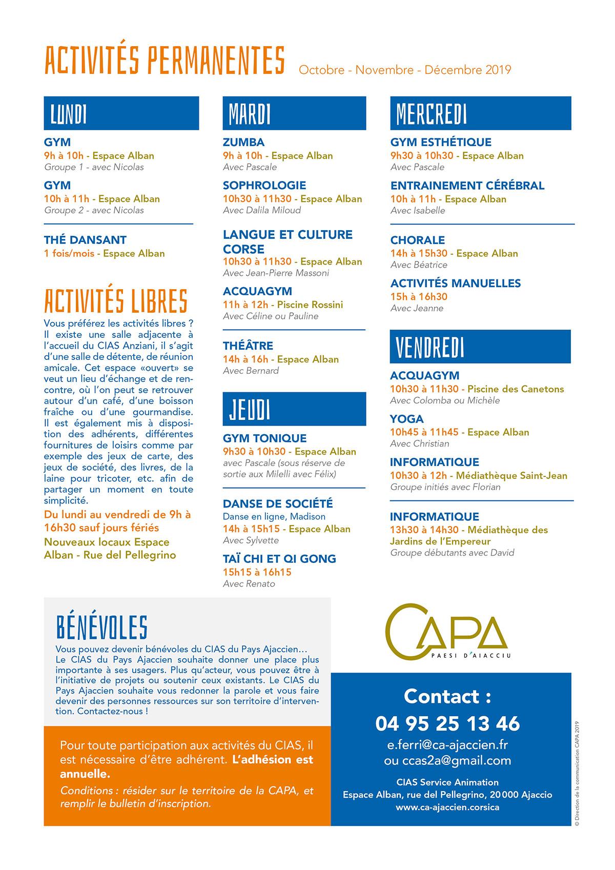 Programme trimestriel du CIAS Anziani