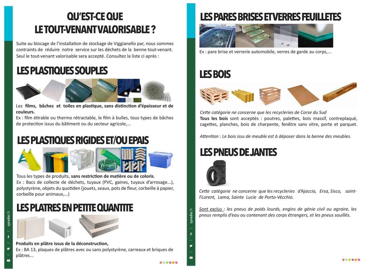 Liste déchets tout-venant acceptés en période de restriction