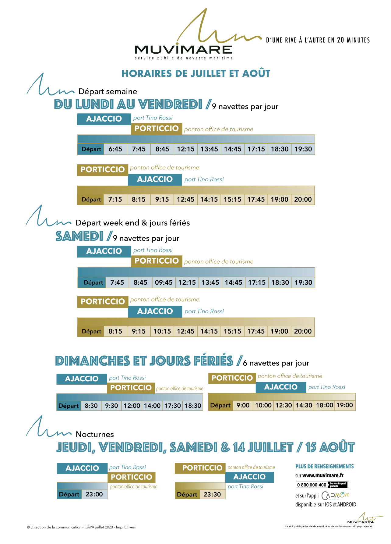 Horaires navette maritime hiver