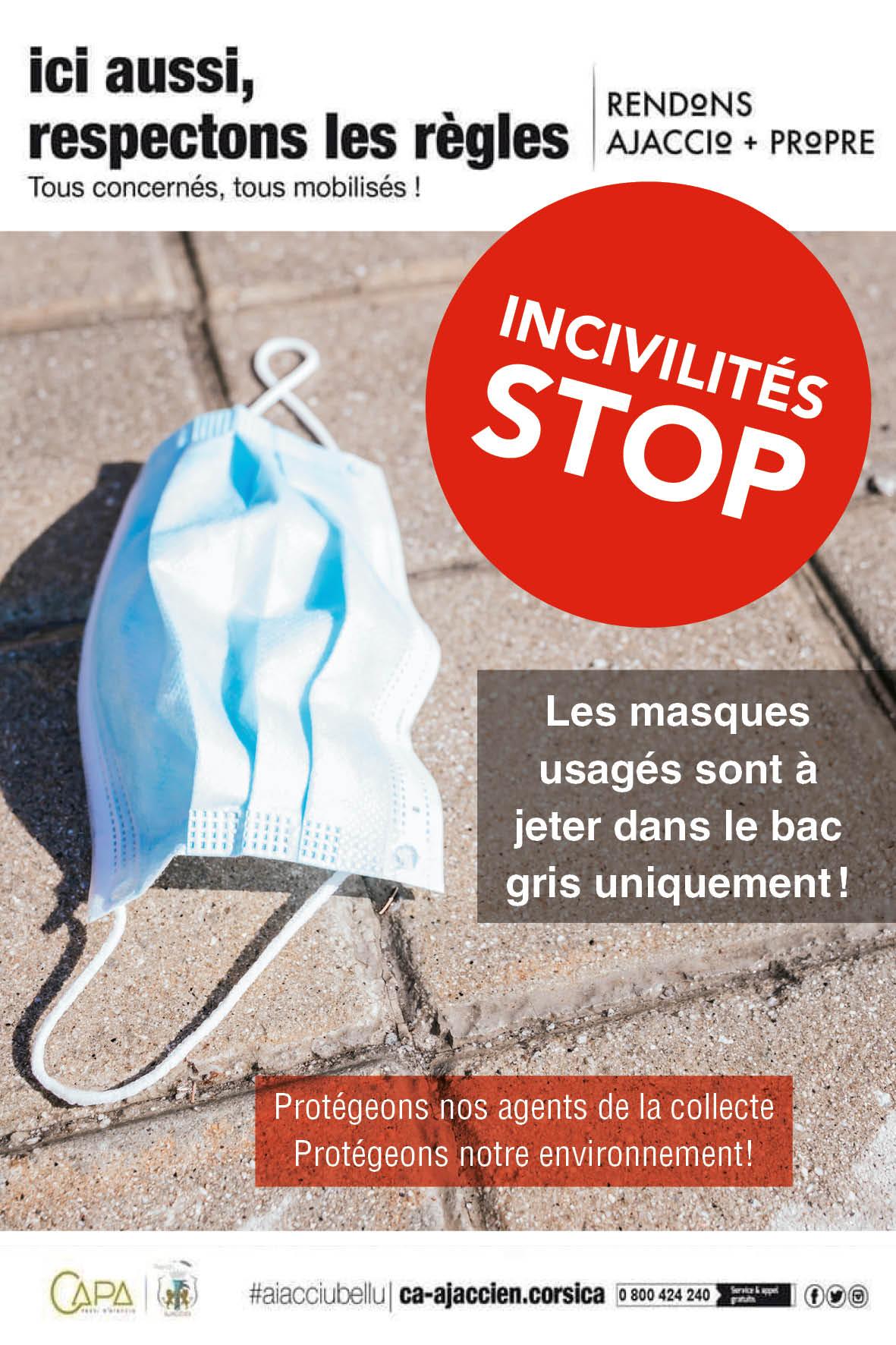 Mémo stop aux incivilités : jetez votre masque dans une poubelle grise