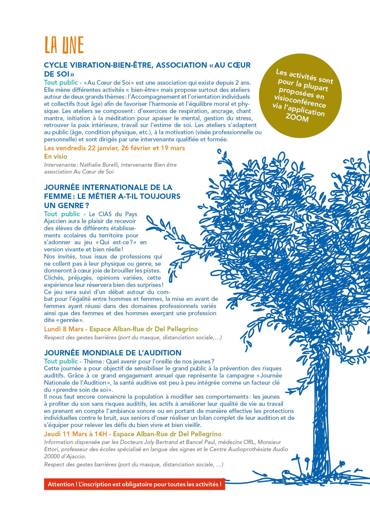 deuxième page du programme du CIAS hiver 2021
