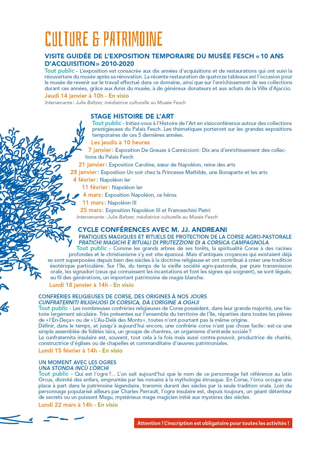 troisième page du programme du CIAS hiver 2021