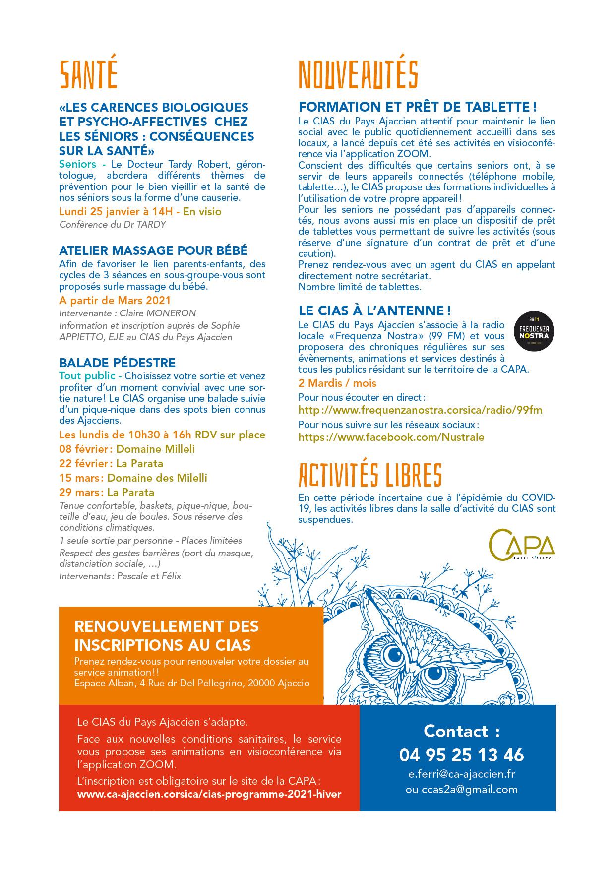 quatrième page du programme du CIAS hiver 2021