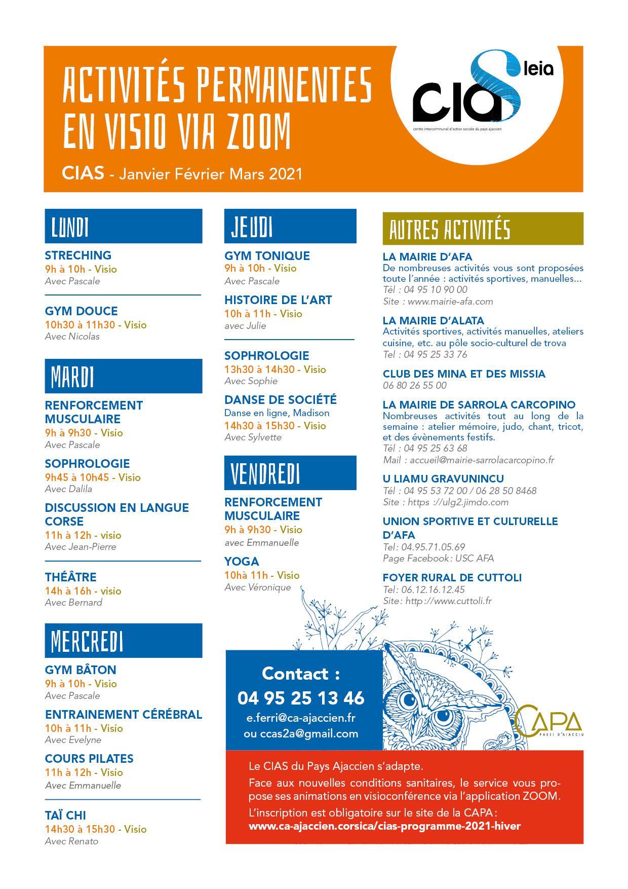 cinquième page du programme du CIAS hiver 2021