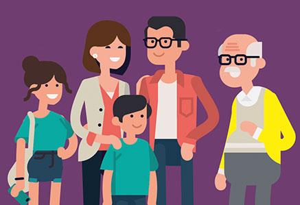 illustration d'une famille avec plusieurs générations