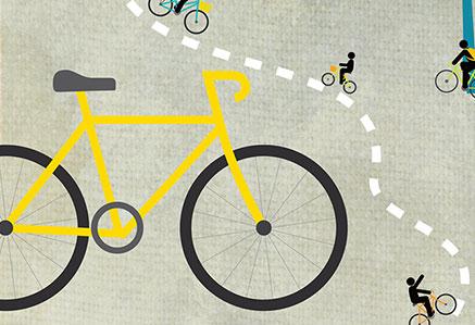 illustration vélo et cyclistes