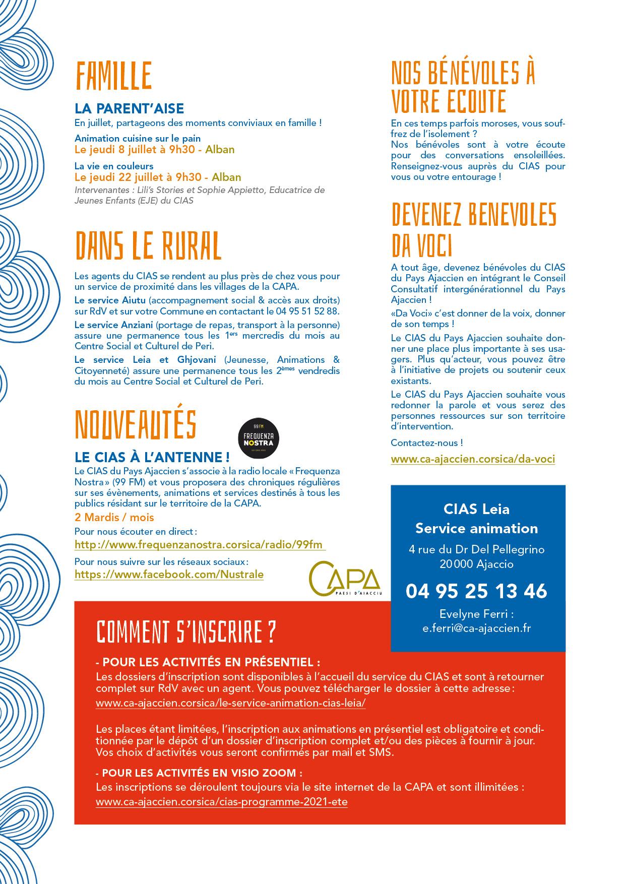 3ème page du programme d'été 2021 du CIAS du Pays Ajaccien