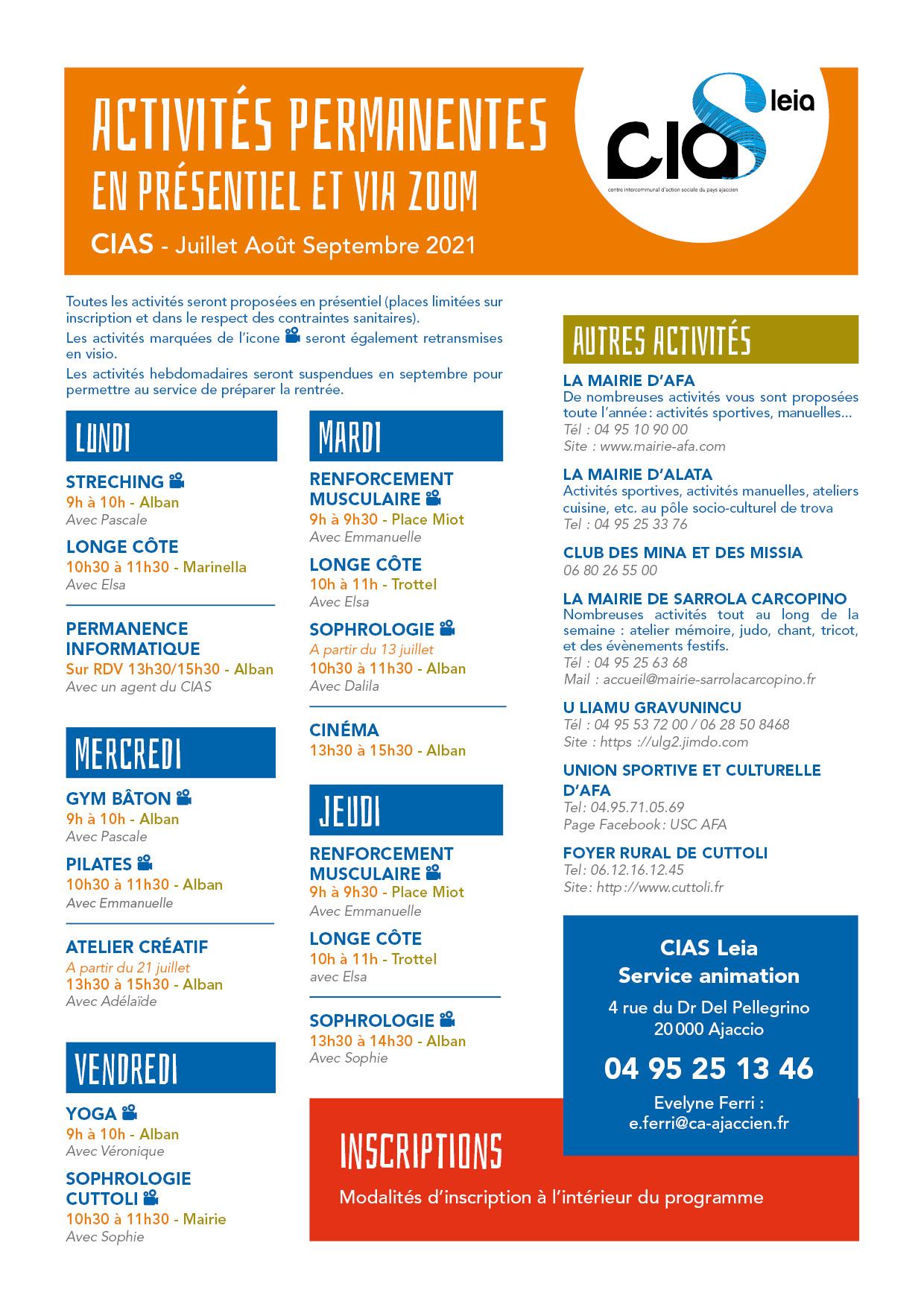 4ème page du programme d'été 2021 du CIAS du Pays Ajaccien