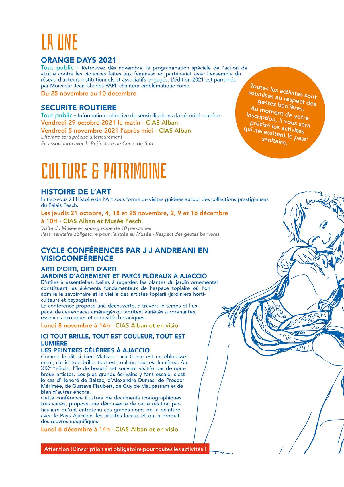 Première page du programme trimestriel du CIAS automne 2021