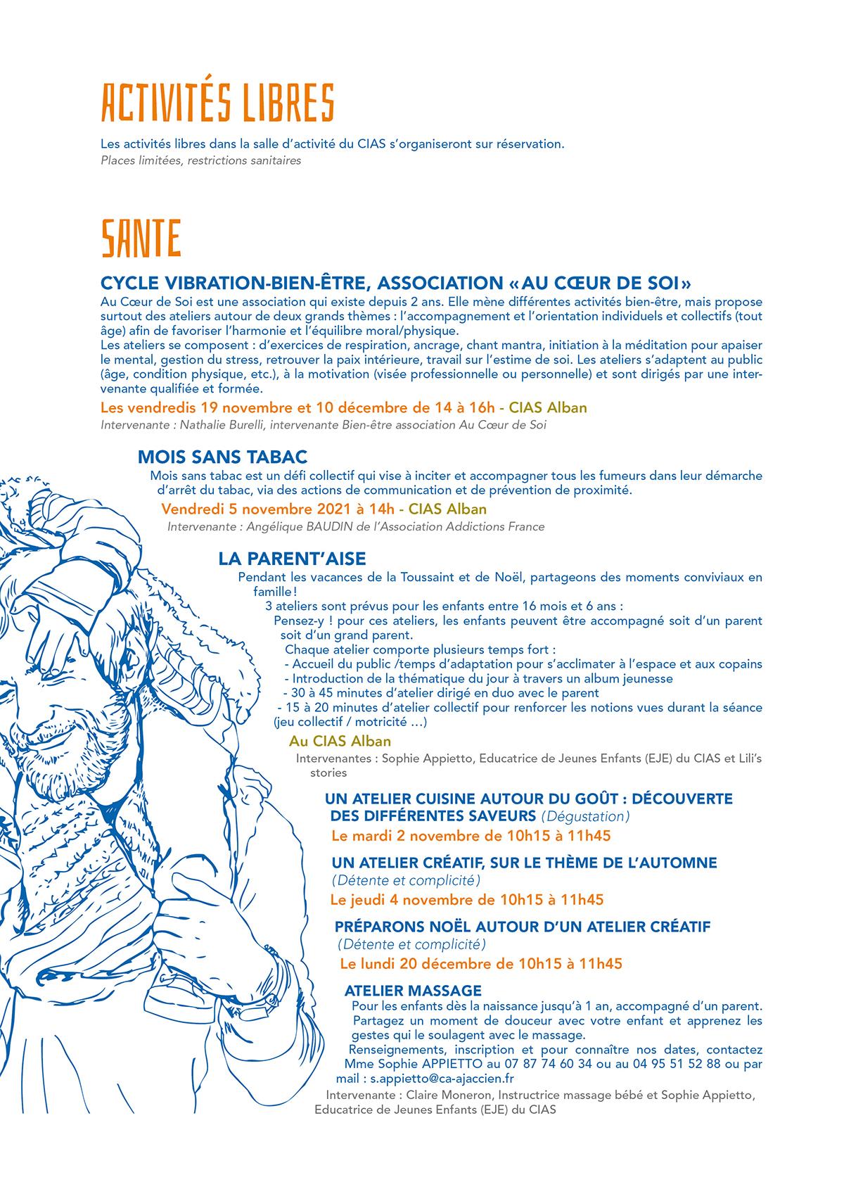2ème page du programme trimestriel du CIAS automne 2021