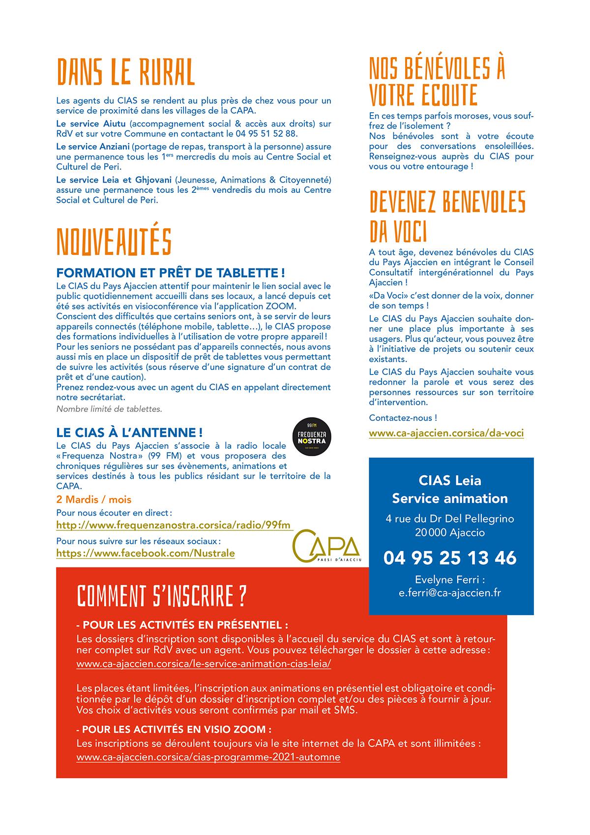 4ème page du programme trimestriel du CIAS automne 2021